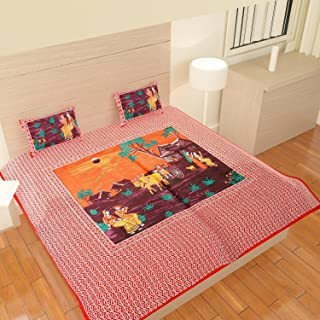 Traditional Mafia Traditional Collection-Printed Double Bed Sheet Set with 2 Pillow Covers, King Size, Red