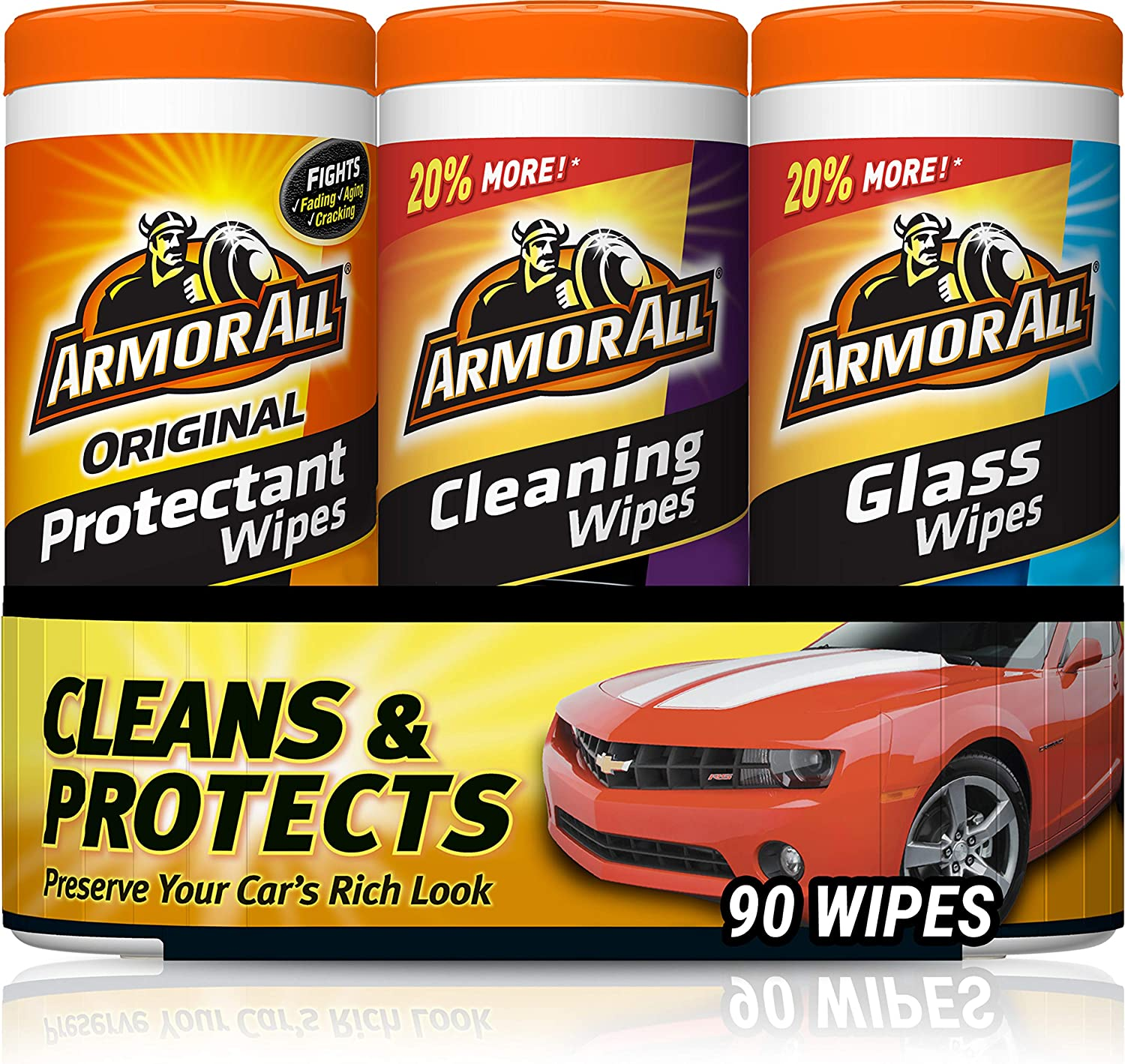 Armor All - 18782 Protectant, Glass and Cleaning Wipes, 30 Count Each (Pack of 3) , Black: Automotive