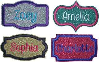Custom Name Patch Embroidered Sparkling Glitter Name Tag - Iron On Or Sew On Choose Glitter Color, Shape, And Thread Colors (1 Patch)
