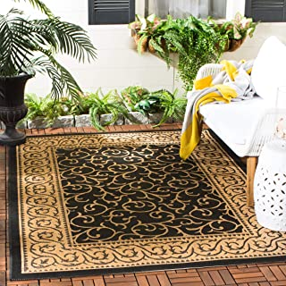Safavieh Courtyard Collection CY6014-46 Black and Natural Indoor/ Outdoor Area Rug (5'3