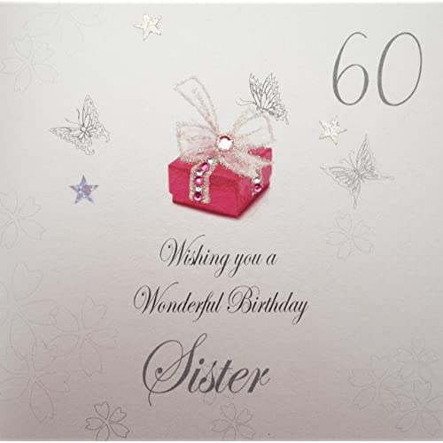 WHITE COTTON CARDS 60 Wishing You A Wonderful SisterHandmade 60th Birthday Card Red