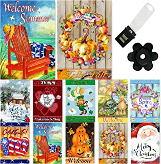 Seasonal Garden Flag Set of 10-12x18 Inch- Double Sided Yard Flag with Free Anti-Wind Clip and Stopper Outdoor Decorative ...