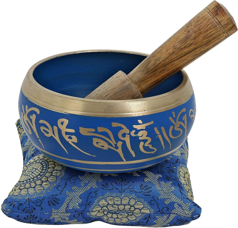 Ajuny Bol pequeño budista azul vibrante pintado a mano, viene palo y cojín, ideal para meditaciones y sanación de sonido, 10 cm