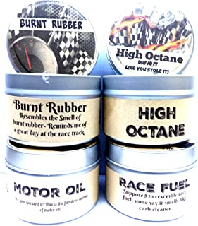 8 Ounce Candles - Combo - Set of Four - High Octane, Race Fuel, Motor Oil & Burnt Rubber 8 Oz All Natural Soy Candle Tins