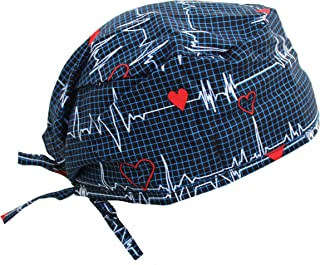 Navy Blue Heart Beat EKG Scrub Cap with Adjustable tie