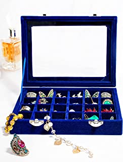 Love Persephone 24 slots ring organizer/earring organizer box - keeps your earrings, rings neatly organized with clear li...