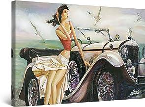 Startonight Cuadro Moderno en Lienzo Pintura Abstracta, Beige Retro Coche y Mujer, para Salon Decoración de la Pared Enmarcada Grande 80 x 120 cm