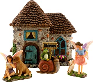 "PRETMANNS Fairy Garden House Kit - Accessories with Miniature Fairies & Welcome Sign – Fairy House is 6"" High – Fairy Garden Supplies 4 Pieces"