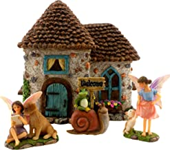 "PRETMANNS Fairy Garden House Kit - Accessories with Miniature Fairies & Welcome Sign – Fairy House is 6"" High – Fairy Gard..."