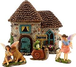 "PRETMANNS Fairy Garden House Kit - Accessories with Miniature Fairies & Welcome Sign – Fairy House is 6"" High – Fairy Garden Supplies 4 Pieces"