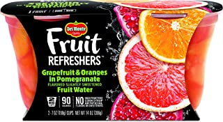 Del Monte Fruit Refreshers Snack Cups, Grapefruit & Oranges in Pomegranate Fruit Water, 2 Count per pack, 14 Ounce, Pack of 6