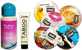 PrePair Spermicidal Lubricant, Taboo Anal Desensitizing Gel and Premium One Condom Value Pack