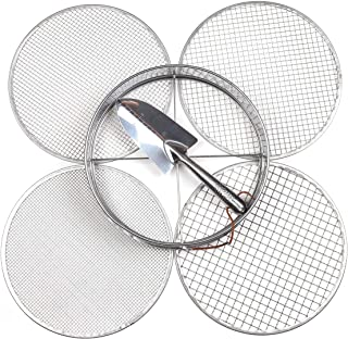 Practicool Garden Potting Mix Sieve - Stainless Steel Riddle - Soil sifting pan - with 4 Interchangeable Filter mesh Sizes...