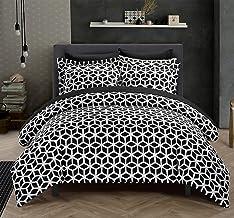 Chic Home Elizabeth 3 Piece Reversible Duvet Cover Set Geometric Diamond Print Design Bedding, King, Black