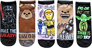 Ewok Vader Droids Chewie Yoda Juniors/Womens 5 Pack Ankle Socks Size 4-10