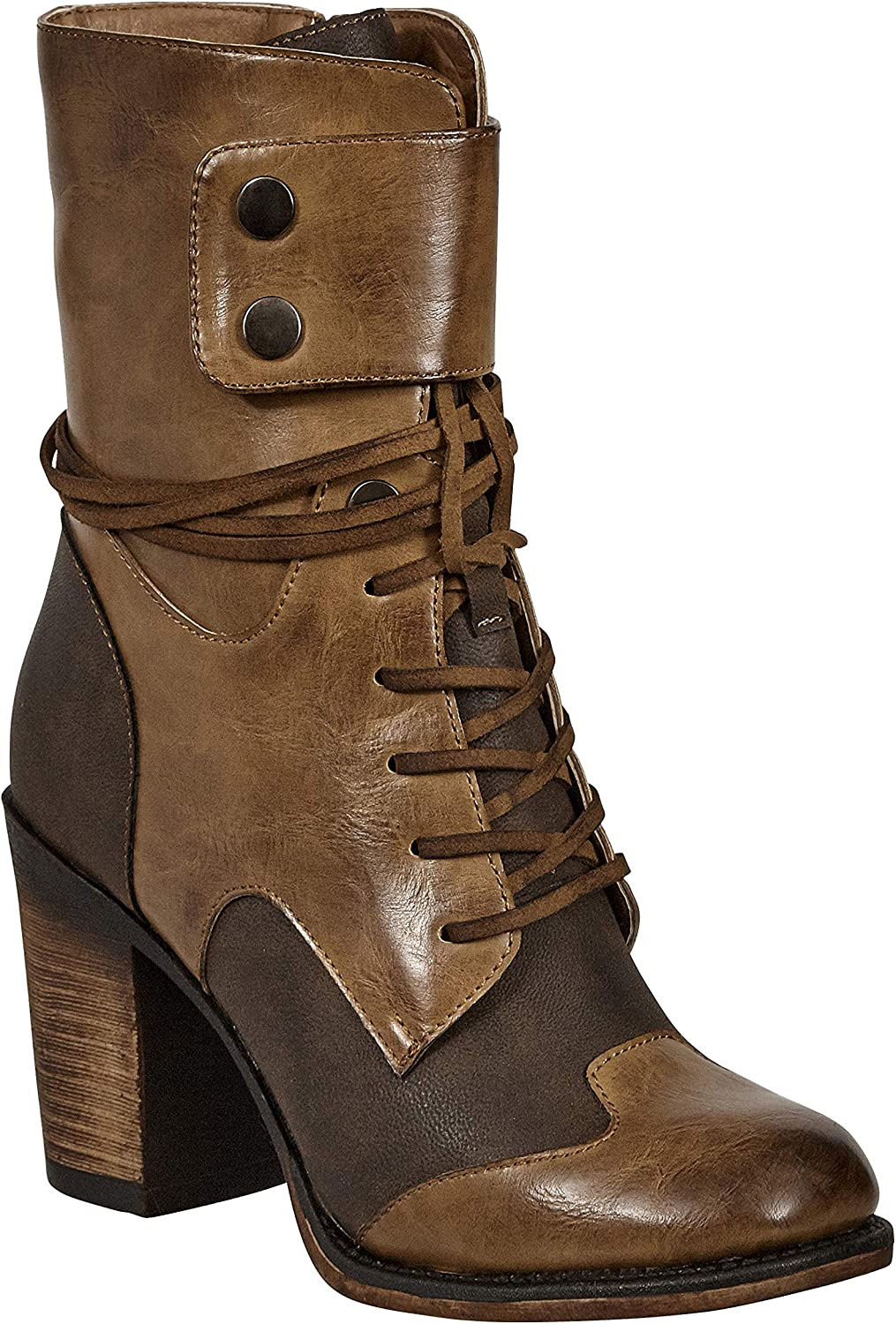 MVE shoes Women's Mid Calf Boots with Distressed PU Upper,