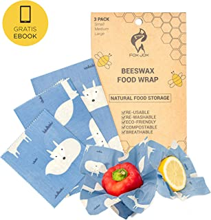 Organic Reusable Bees-Wax Wraps | 3 Assorted Sheets - Small Medium Large | Eco Friendly Natural Food Wrap | Extra Ebook | Biodegradable and Plastic Free Storage
