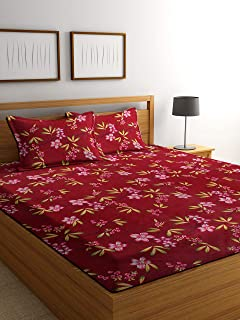 Luxury Crafts™ Grace Cotton Soft Touch King Size(90x95 inches) Floral Double Bedsheet with 2 Pillow Covers(Red)