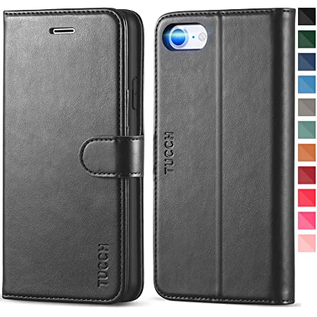 TUCCH iPhone SE 2020 Case, iPhone 8 Case, iPhone 7 Wallet Case, PU Leather Flip Folio Cover with Card Slot Magnetic, Stand Holder [TPU Shockproof Interior Case] Compatible with iPhone 7/8/SE2, Black