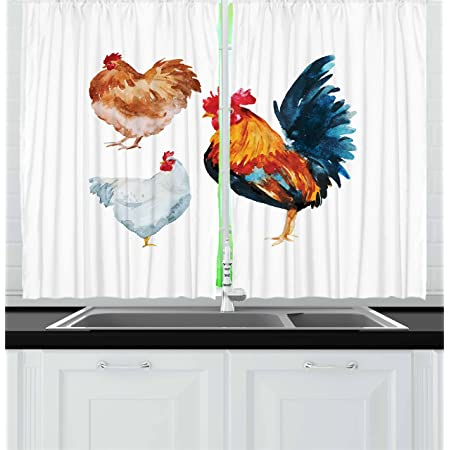 Amazon Com Lunarable Chicken Kitchen Curtains Watercolor Effect Poultry Design With Rooster And Hens Flightless Bird Illustration Window Drapes 2 Panel Set For Kitchen Cafe Decor 55 X 39 Brown Orange Home
