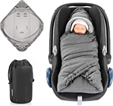 Zamboo Einschlagdecke für Babyschale und Kinderwagen - praktische Alternative zum Baby Winter-Fußsack, weiches und wattiertes Thermo Fleece - Grau Basic