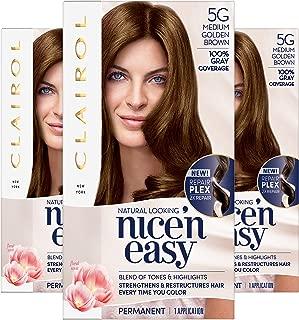 Clairol Nice'n Easy Permanent Hair Color, 5G Medium Golden Brown, Pack of 3