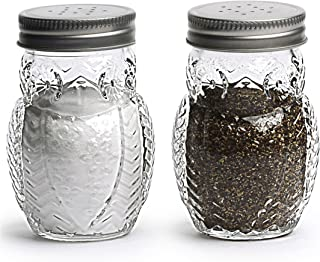 Circleware 66766 Elegant Owl Shaped Glass Mason Salt and Pepper Shakers with Metal Lids, Perfect for Himalayan Seasoning Herbs Spices, 2-Piece Set