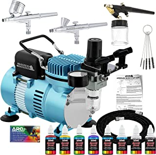 Master Airbrush Cool Runner II Dual Fan Air Compressor Airbrushing System Kit with 3 Professional Airbrushes, Gravity & Siphon Feed - 6 Primary Opaque Colors Acrylic Paint Artist Set - How to Guide