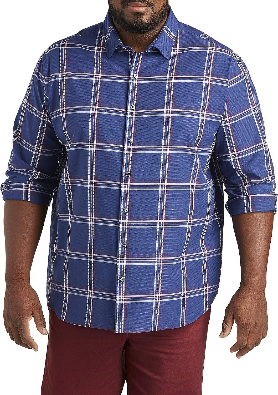 DXL Synrgy Big and Tall Large Plaid Sport Shirt, Twilight Blue