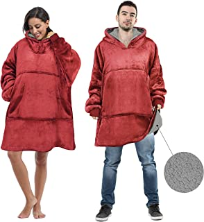 Tirrinia Oversized Sherpa Hoodie Sweatshirts Blanket for Sport Professional and College Football Teams Fan Adults Teens, Ultra Warm Comfortable Reversible W/Giant Pocket