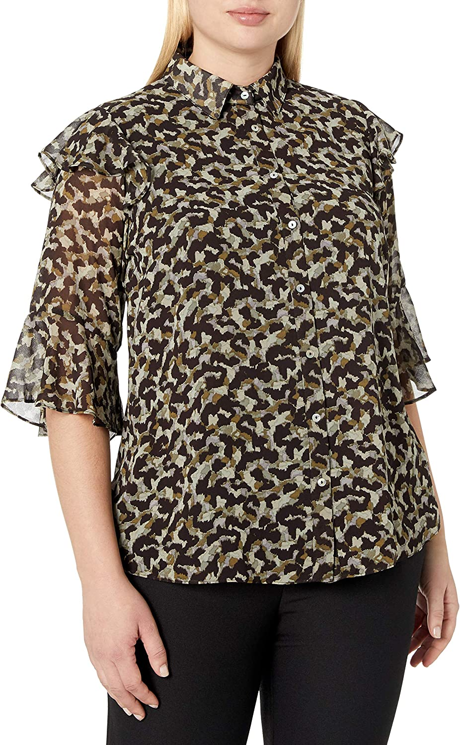 City Chic Women's Apparel Women's Printed Collared Top with Button Down Detail