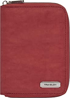 Travelon RFID Blocking Passport Zip Wallet, Poppy, One Size