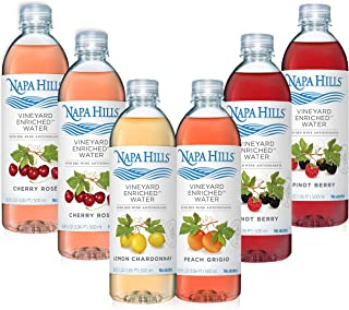 Napa Hills Wine Antioxidant Water - Variety Pack of Flavored Wine Water, Non-Alcoholic Resveratrol Enriched Drink - 6 Pack - No Wine Taste, No Carbs, No Calories - 2 Cherry & Berry, 1 Peach & Lemon
