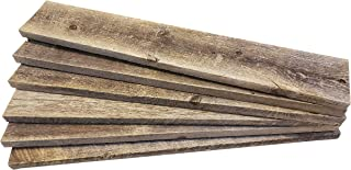 Rustic Weathered Reclaimed Wood Planks for DIY Crafts, Projects and Decor Box of 6 Planks (24 inch, Rustic Grey)