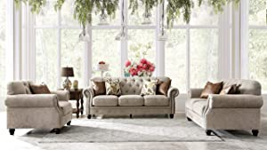 Acanva Collection Chesterfield Chenille Tufted Living Room Sofa, 3 Piece Set, Almond