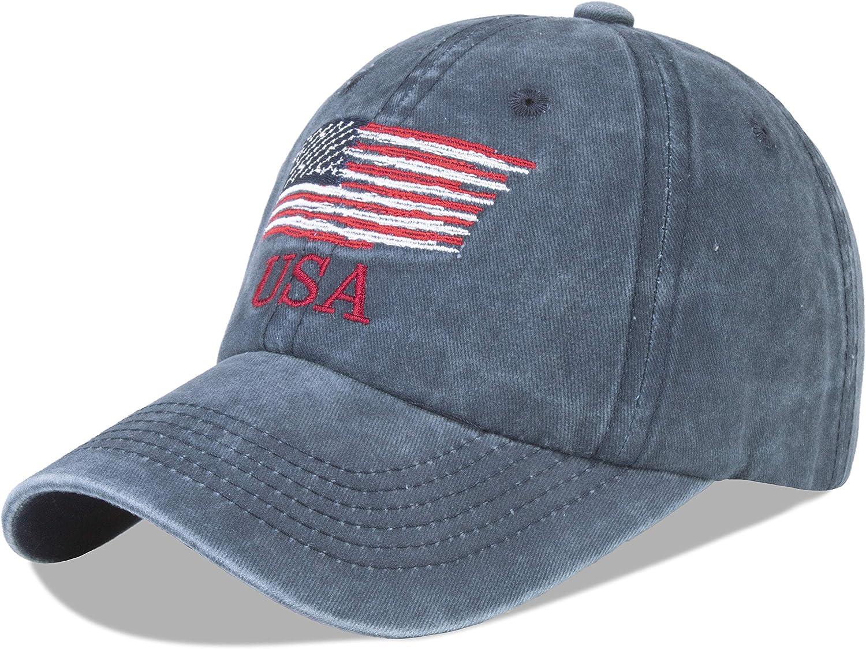 LANGZHEN American Flag Hats for Men and Women USA Flag Baseball Cap Adjustable Outdoors Trucker Snapback Hat