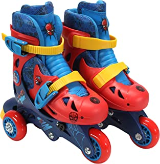 PlayWheels Spider-Man Convertible 2-in-1 Kids Roller Skates - Childrens Adjustable Skates - Junior Size 6-9