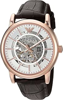 Emporio Armani Men's Automatic Watch, Analog Display and Leather Strap AR1983
