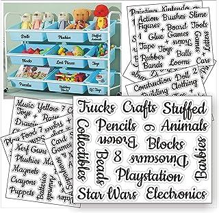 Premify Playroom Labels, Kids Room Organising Stickers – Toys & Crafts Preprinted Sticker. Waterproof Clear Vinyl Label, C...
