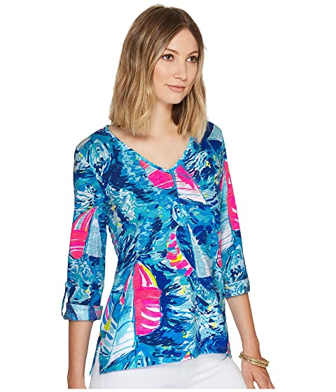 Lilly Pulitzer Jennifer Long Sleeve Tee Sparkling Blue Hey Bay Bay Reduced Cheap Sale Big Sale Clearance Looking For Manchester Great Sale Sale Online vefj4gnq