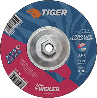 """Best Weiler 57124 Tiger 7"""" Grinding Wheel, Type 27, 1/4"""" Thick, A24R, 5/8""""-11 UNC Nut (Pack of 10) Review"""