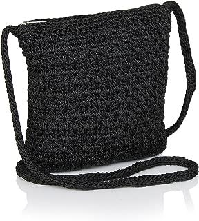 Boho Crochet Crossbody Handbag, Organizer Sling Bag, Small Crocheted Hippie Purse