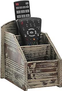 3 Slot Rustic Torched Wood Remote Control Caddy/Media Organizer, Storage Rack