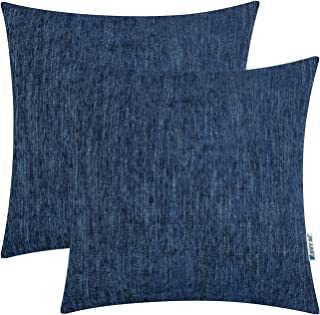 HWY 50 Cotton Linen Soft Comfortable Soild Decorative Throw Pillows Covers Set Cushion Cases for Couch Sofa Living Room Blue 18 x 18 Inches Pack of 2