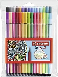 Stabilo Pen 68 Coloring Felt-tip Marker Pen, 1 mm - 30-Color Wallet Set