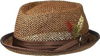 6d73aa0c0bb278 Brixton Men's Stout Short Brim Straw Pork Pie Fedora Hat
