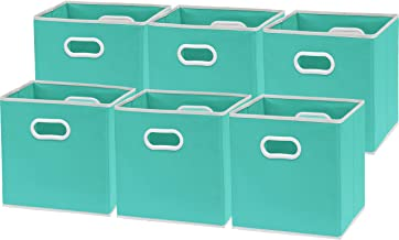 6 Pack - SimpleHouseware Foldable Cube Storage Bin with Handle, Turquoise (12-Inch Cube)