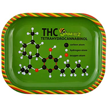 "Shmokez Rasta Metal Rolling Tray - Lightweight Small Rolling Tray 5.5"" x 7"" - Curved Edges and Smooth Surface for Easy Rolling"