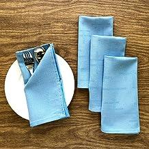 CAIT CHAPMAN HOME COLLECTION 纯色几何纹理提花编织桌布和餐巾 浅蓝色 Napkin Set Of 4