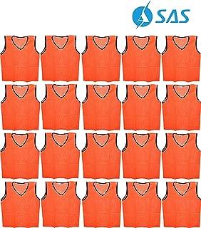 SAS SPORTS Training mesh west Football Bibs Orange Color (Set of 20- Size Large)